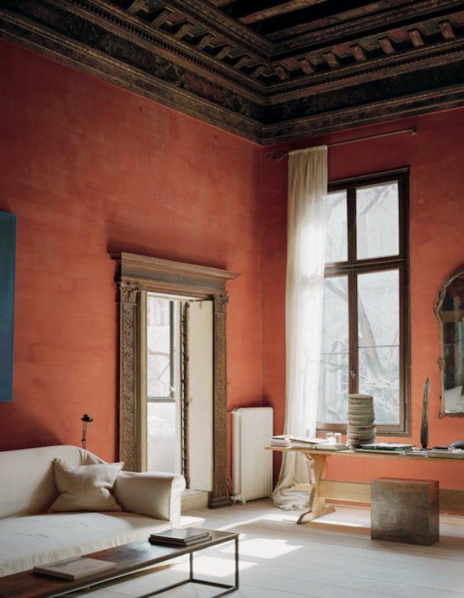 Italian apartment with red walls