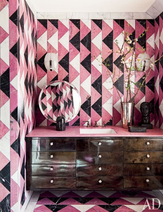 Kelly Wearstler patterned pink tile bathroom on @thouswellblog