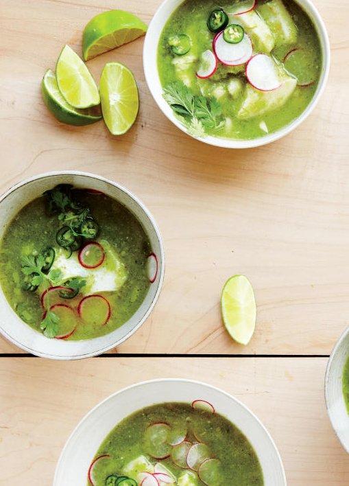 Green posole with cod on @thouswellblog via Bon Appetit