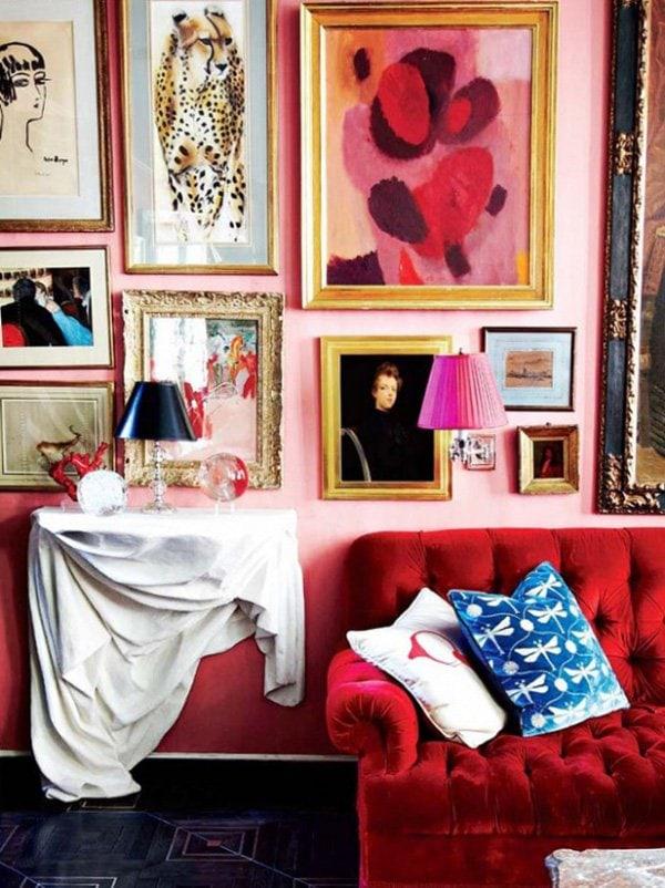 Miles Redd maximilist pink room on @thouswellblog