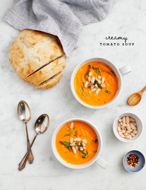 Creamy tomato white bean soup on @thouswellblog via Love & Lemons
