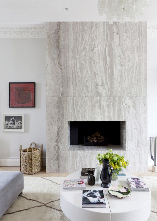 Modern marble fireplace via @thouswellblog