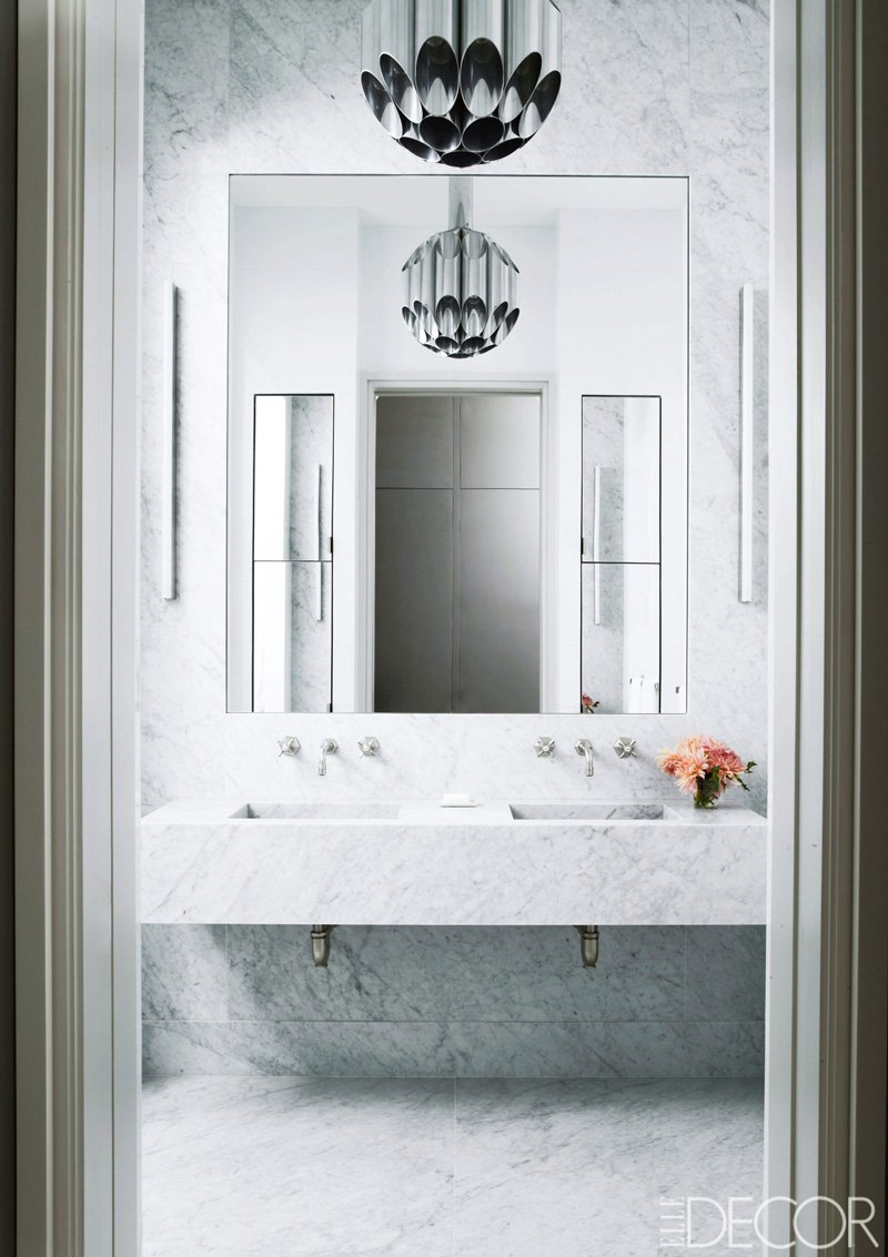 Modern marble bathroom goals via @thouswellblog