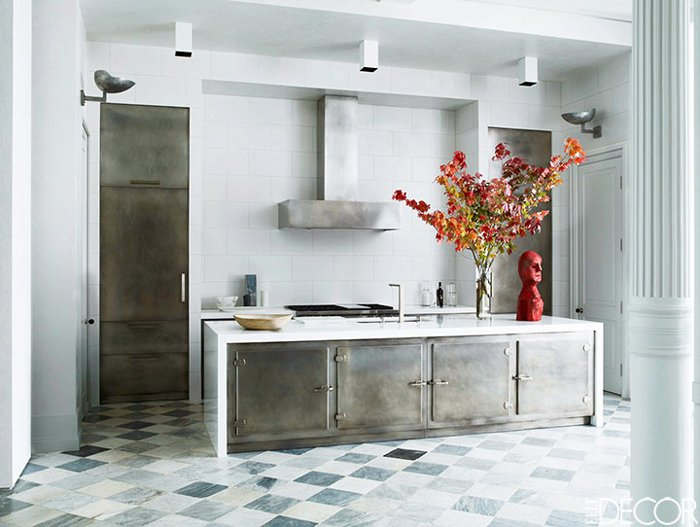 Marble and steel kitchen with tiled floor via @thouswellblog