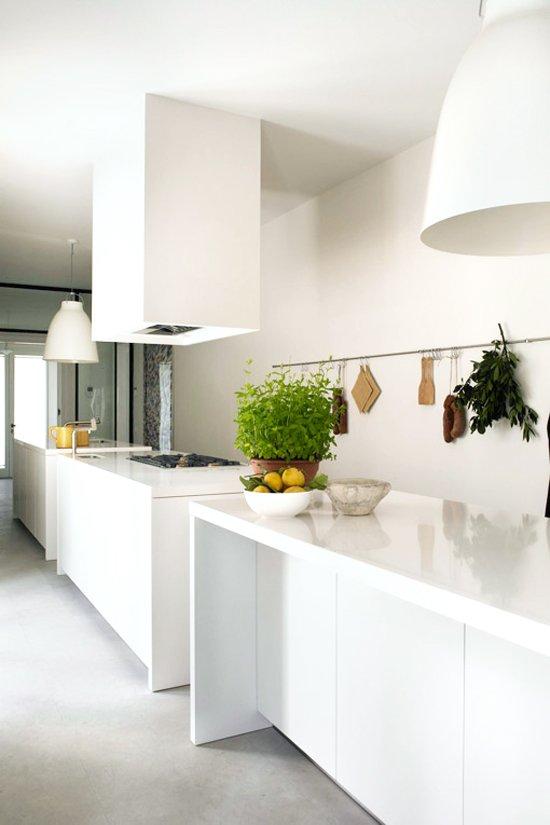 Sleek white kitchen on @thouswellblog