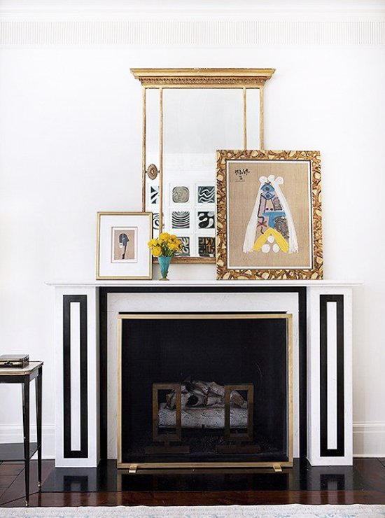 Suzanne Kasler's graphic black and white fireplace mantel via @thouswellblog