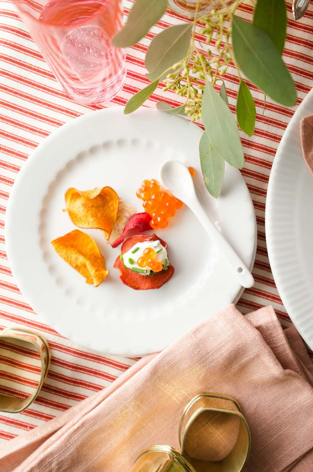 Salmon roe and root chips via @thouswellblog