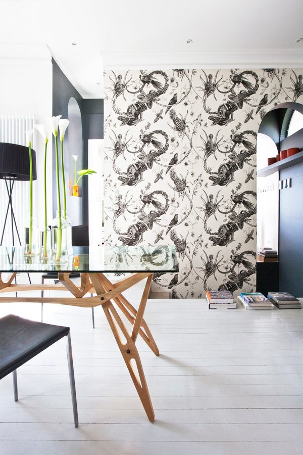 Timorous Beasties' Iguana wallpaper accent wall via @thouswellblog