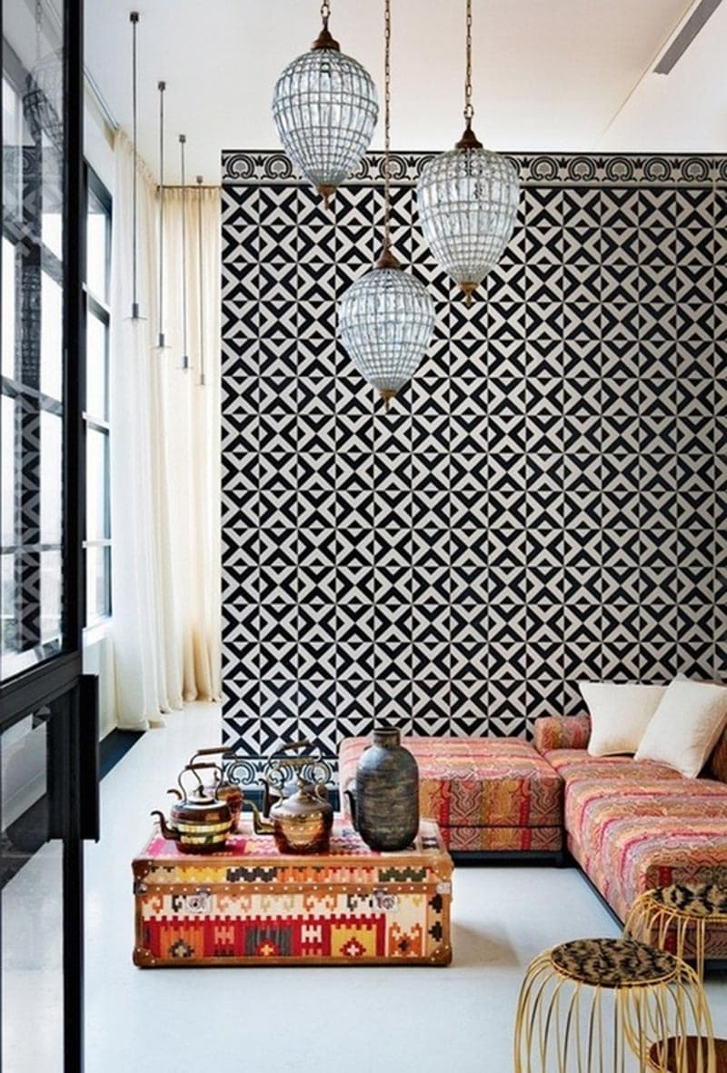 Black and white geometric tiled wall with lanterns and floor pillows via @thouswellblog