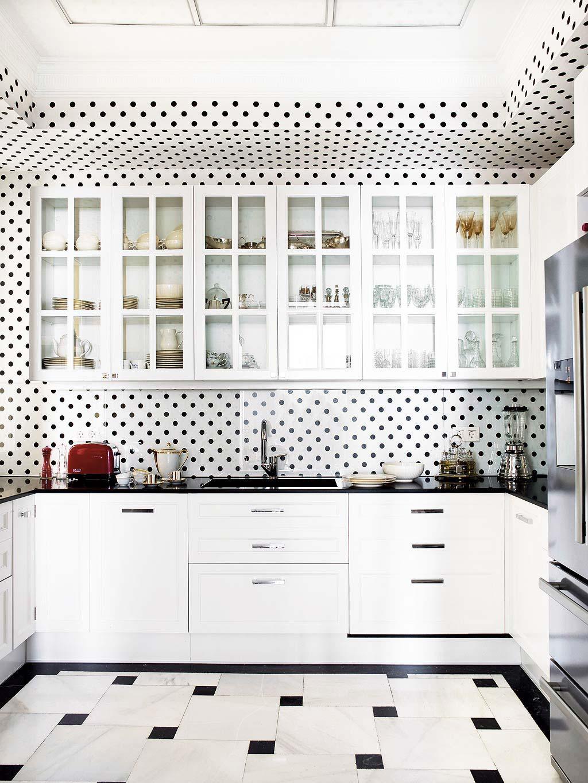 Black and white polka-dot kitchen via @thouswellblog