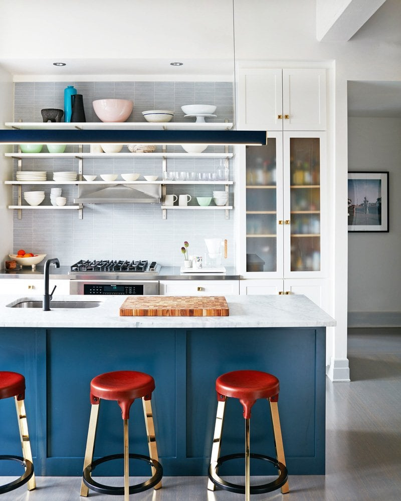 Blue and marble kitchen with leather counter stools via @thouswellblog