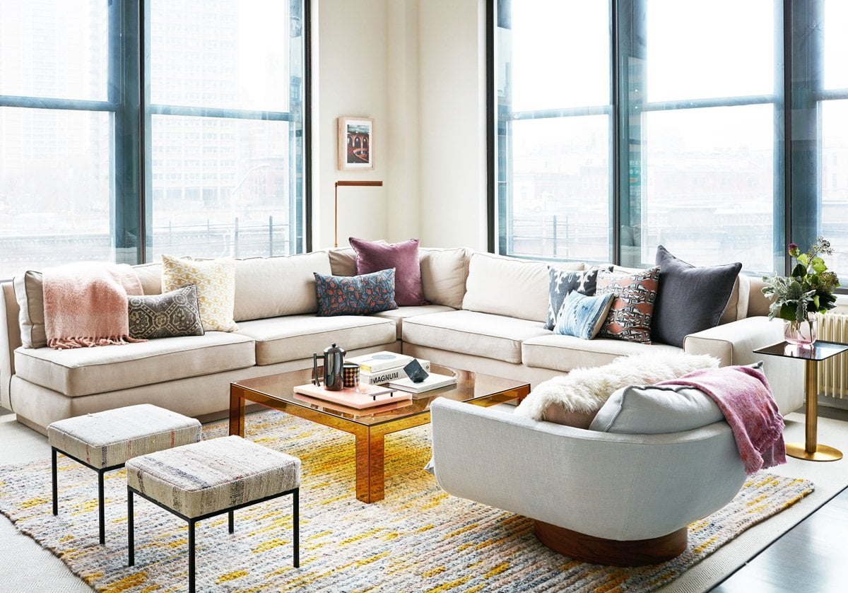 Comfortable family living room in a Brooklyn loft via @thouswellblog