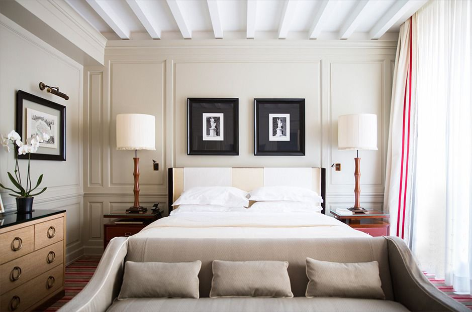 Calm neutral French hotel bedroom via @thouswellblog
