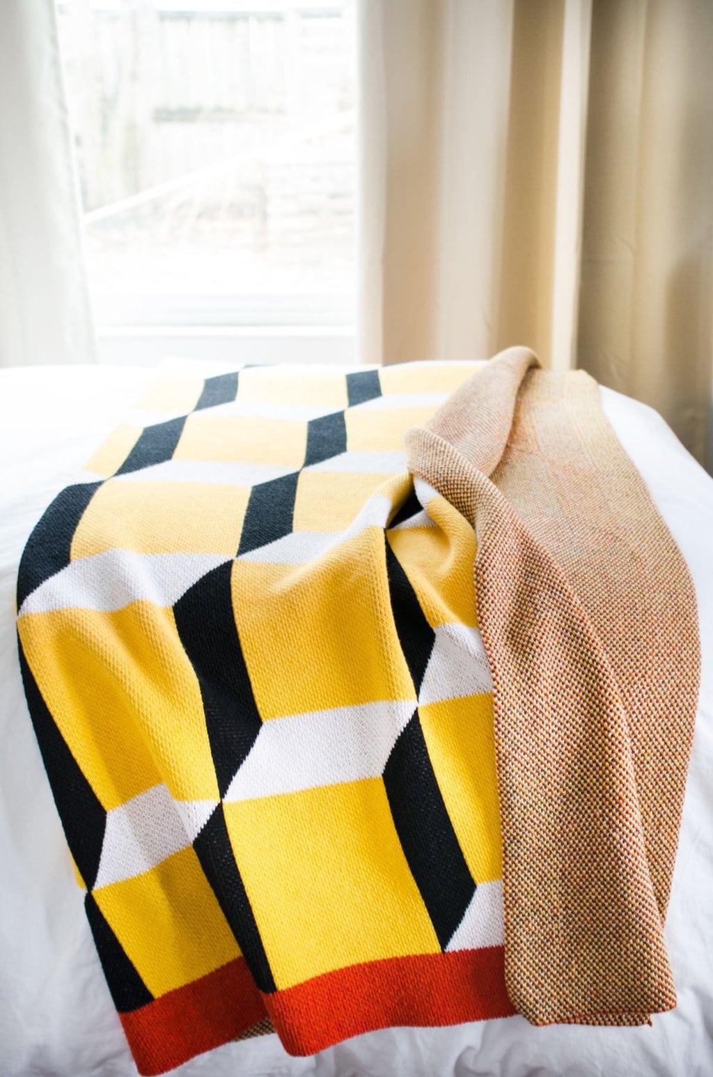Graphic yellow blanket via @thouswellblog