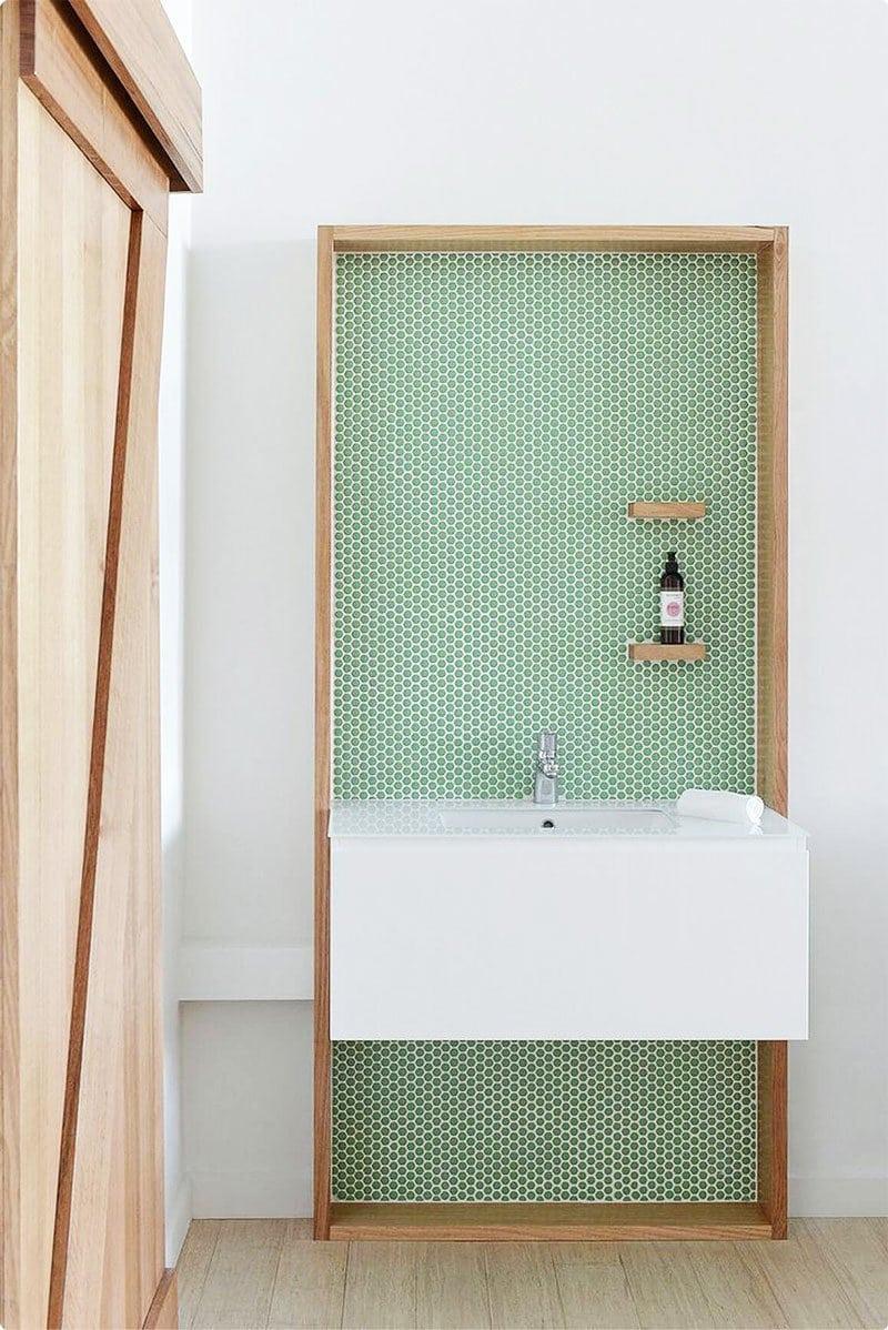 Green tiled sink backsplash via @thouswellblog