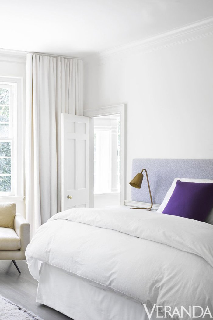 Modern white bedroom with floating headboard via @thouswellblog
