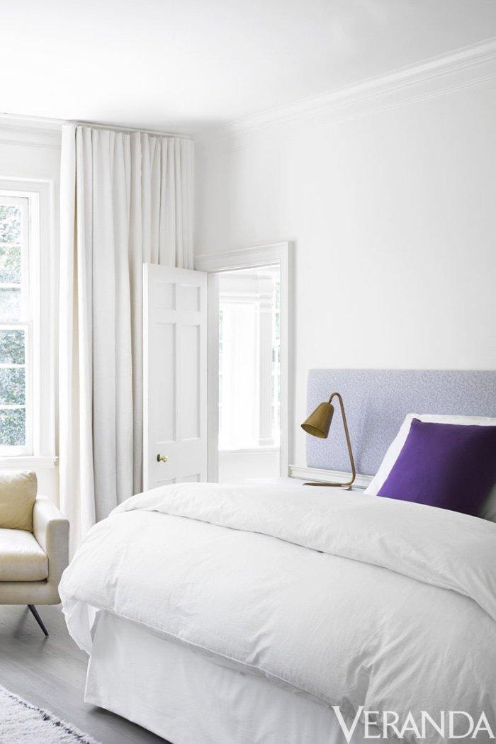Modern white bedroom with floating headboard via @thouswellblog