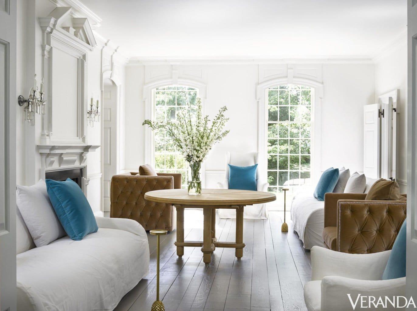 Kay Douglass' white and blue living room in Atlanta home via @thouswellblog