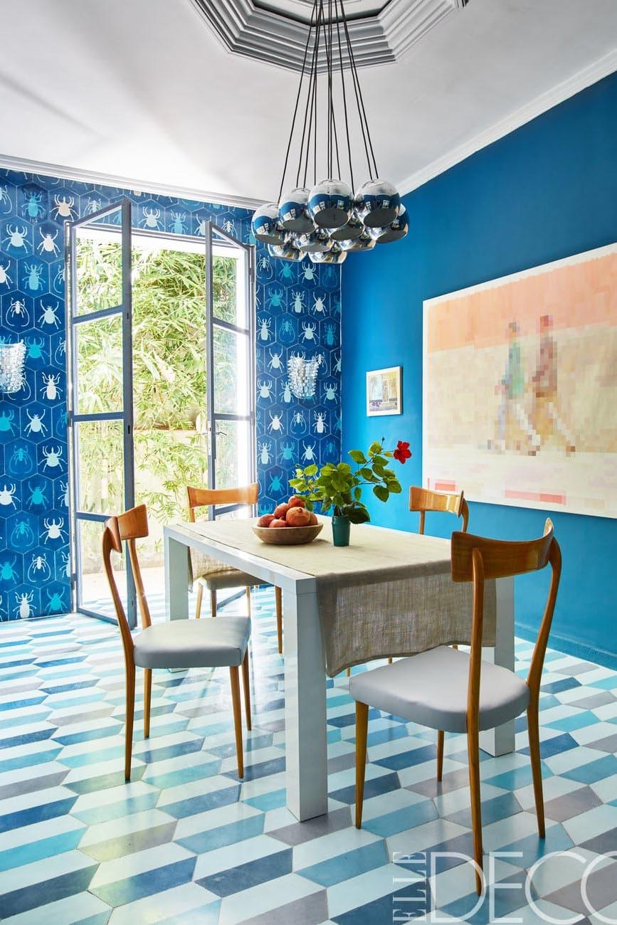 Colorful tiled teal dining room via @thouswellblog