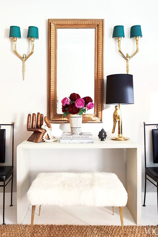 Simple console, vintage chairs, sheepskin bench and gold mirror via @thouswellblog
