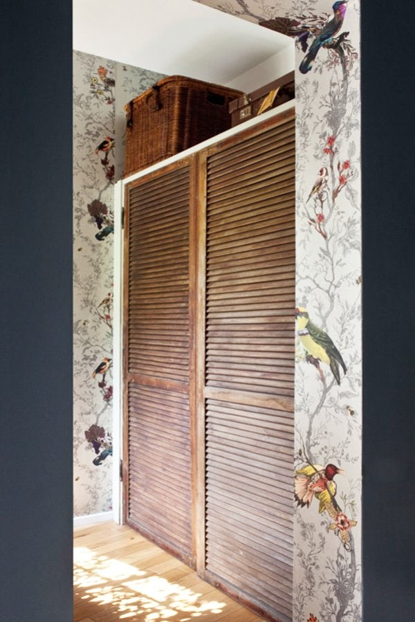 Timorous Beasties's Birds n Bees wallpaper in a door frame via @thouswellblog