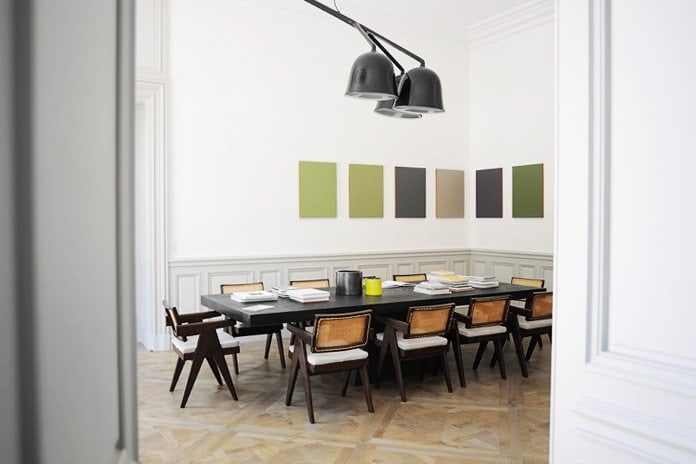 Modern dining room with modern art via @thouswellblog