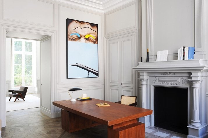 Gray walls and large fireplace in French home office via @thouswellblog