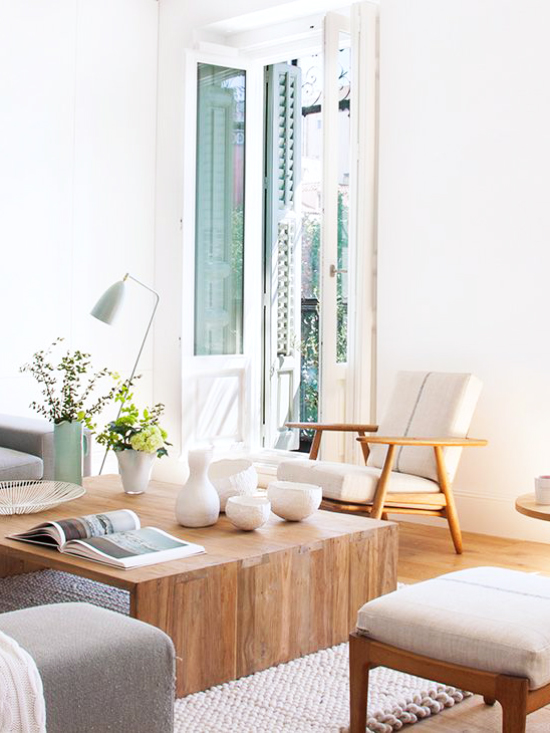 A neutral living room in Madrid via @thouswellblog