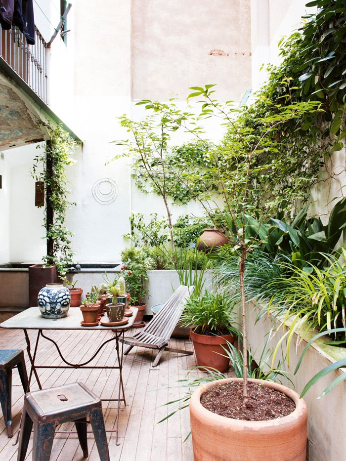 Potted plants in an urban patio via @thouswellblog