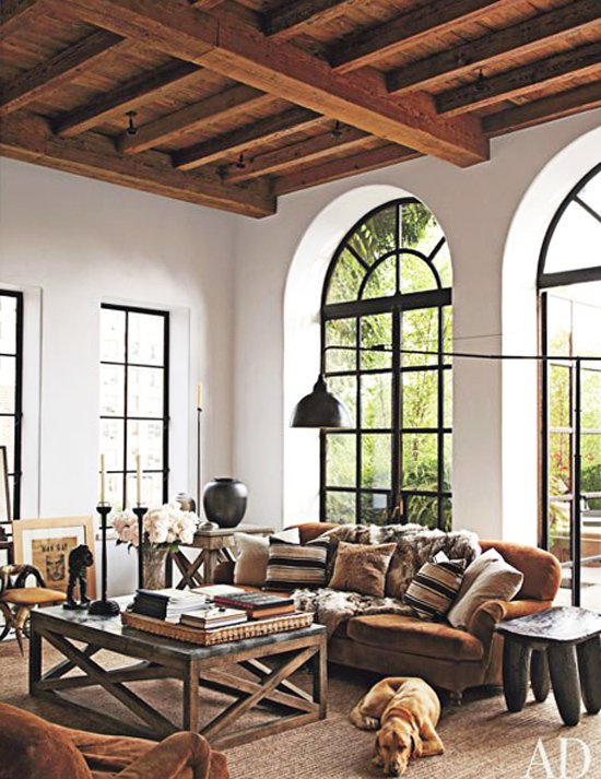 Rustic modern living room with timber ceiling, Ralph Lauren Home sofa via @thouswellblog