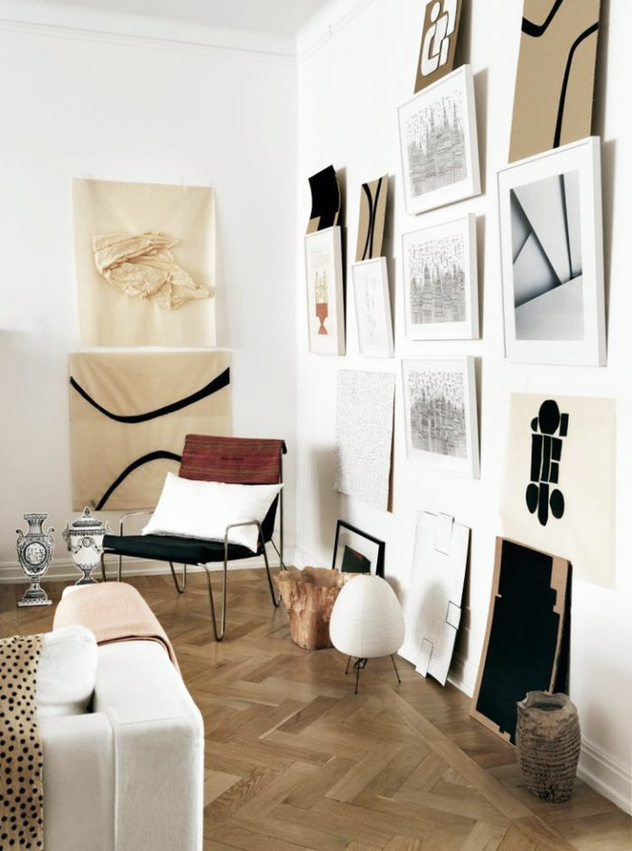 Vintage chair and modern gallery wall via @thouswellblog