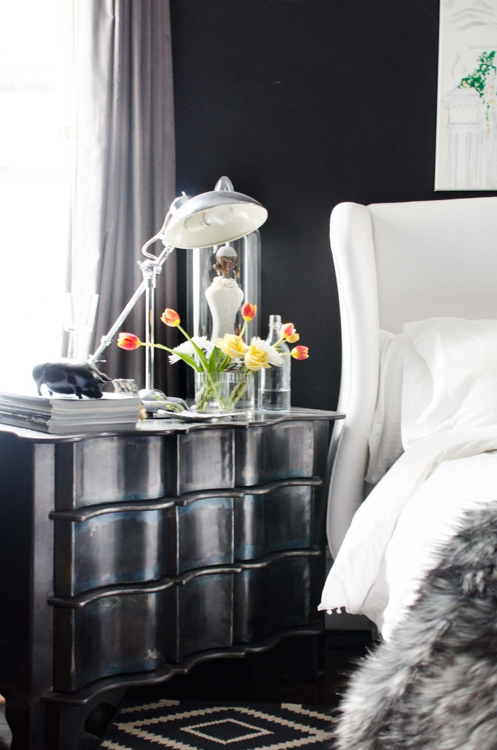 Black bedroom walls with metal dresser via @thouswellblog