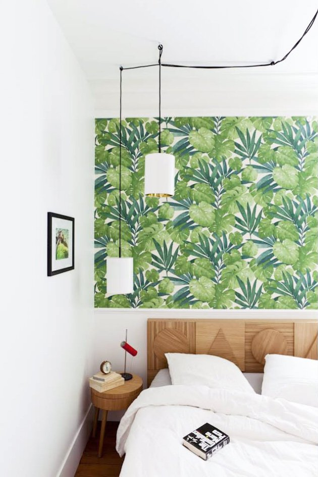 Modern bedroom with tropical wallpaper via @thouswellblog