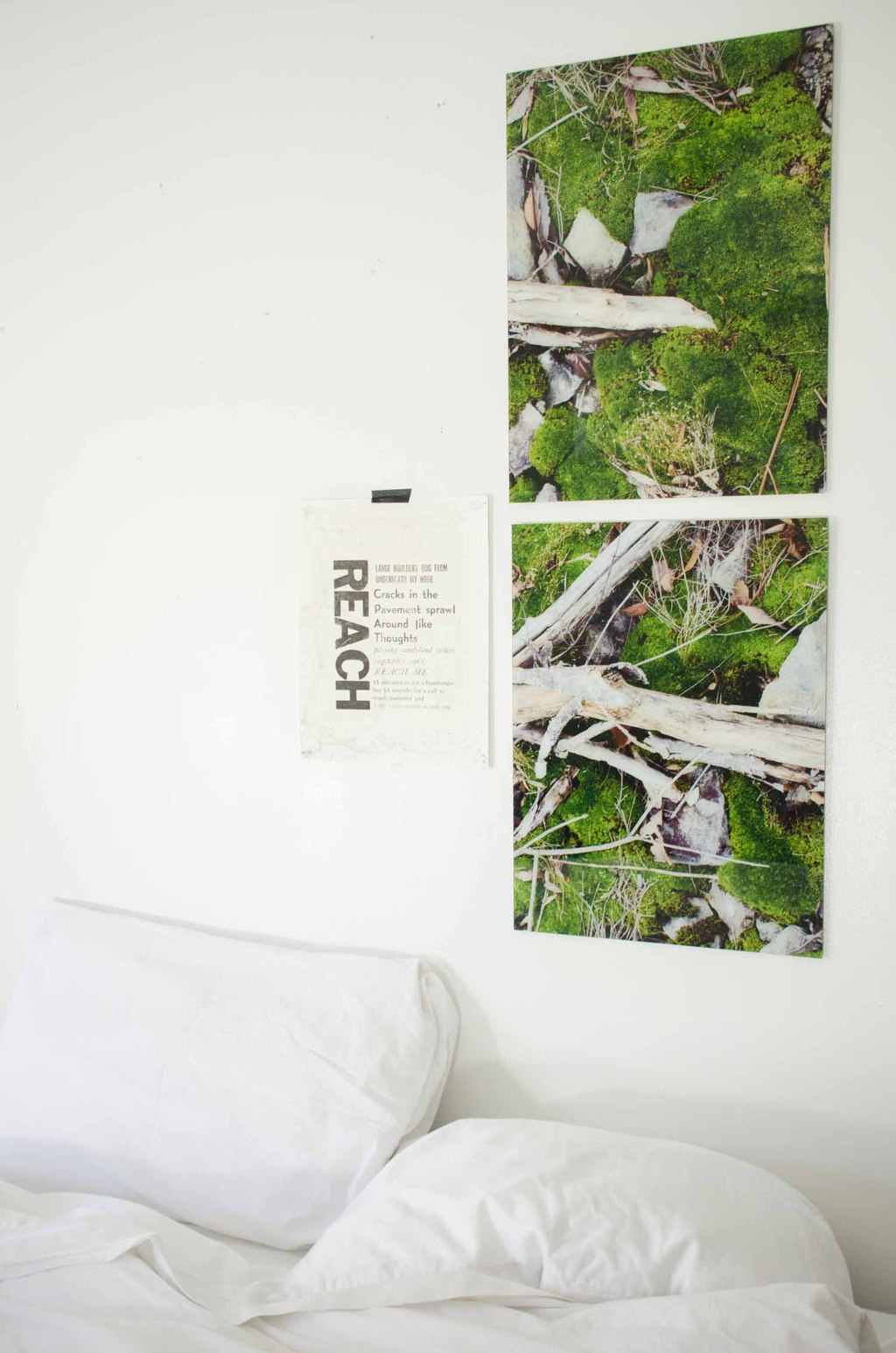 Minimal white bedroom with glass art prints from Fracture on @thouswellblog