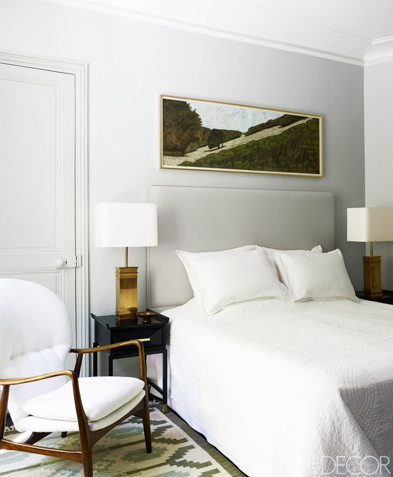 Simple bedroom with soothing gray walls and headboard on @thouswellblog