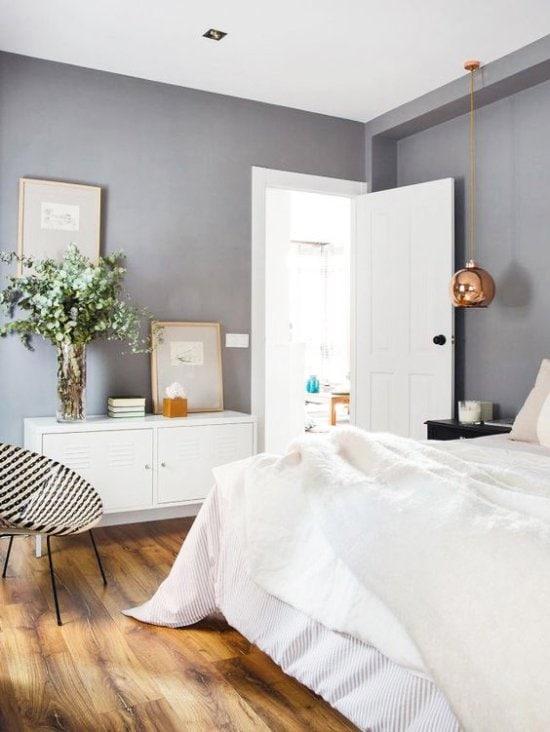 Modern bedroom with gray walls via @thouswellblog