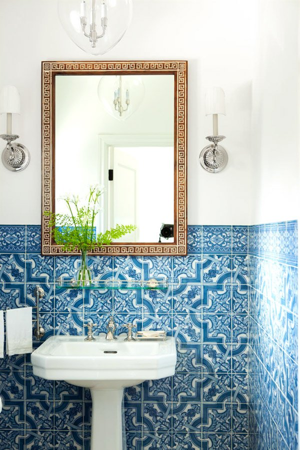 Mark D. Sikes blue tile bathroom via @thouswellblog