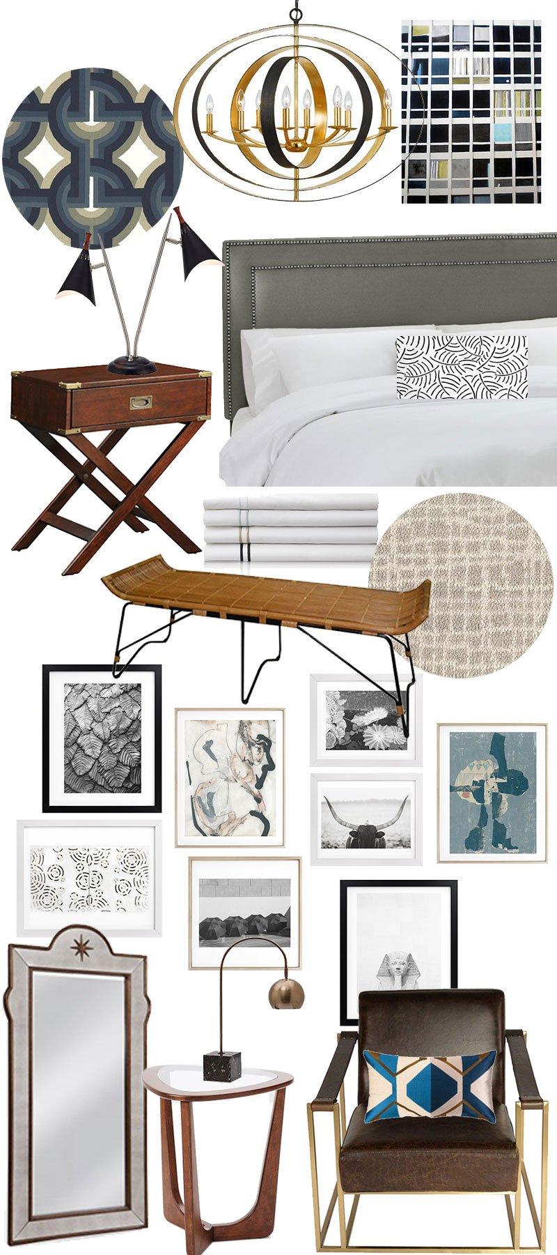Master bedroom #OneRoomChallenge design boards on @thouswellblog