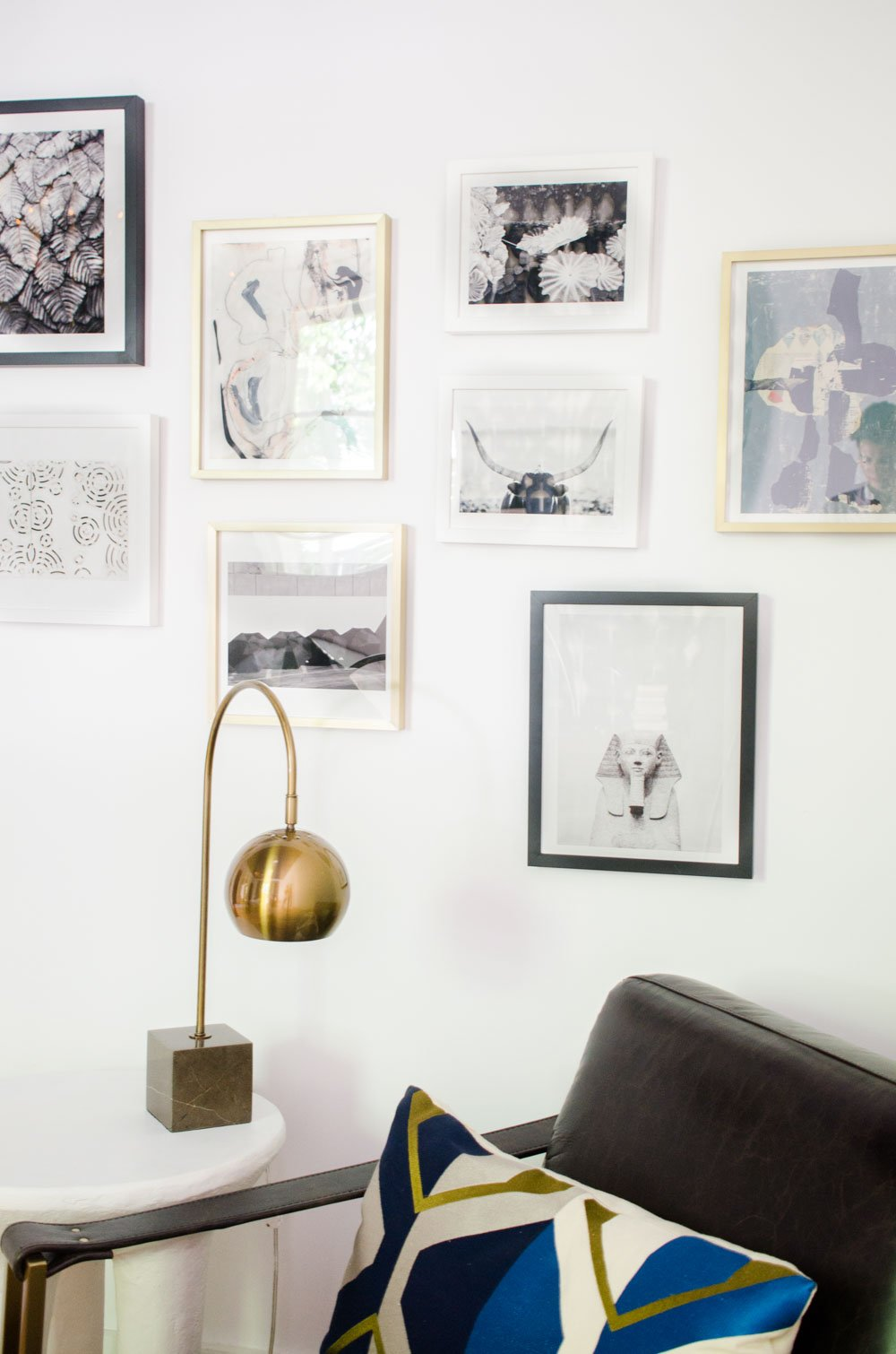 One Room Challenge gallery wall and brass lamp via @thouswellblog