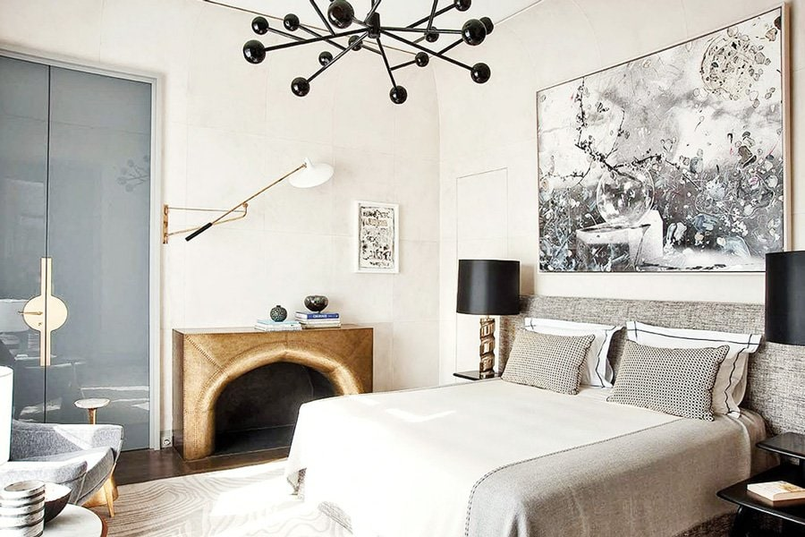 Jean Louis Deniot bedroom with modern light and abstract art via @thouswellblog