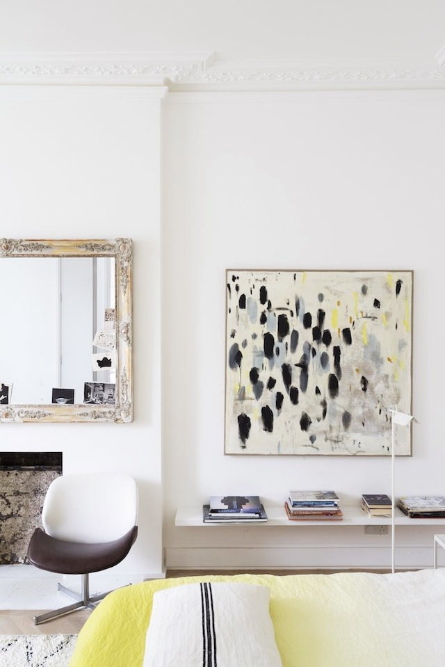 Modern abstract art in a Scandinavian home on @thouswellblog