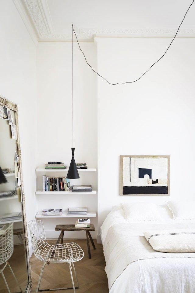 Scandinavian style minimal white bedroom on @thouswellblog