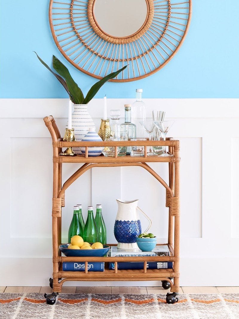 Rattan bar cart in the Threshold summer collection via @thouswellblog