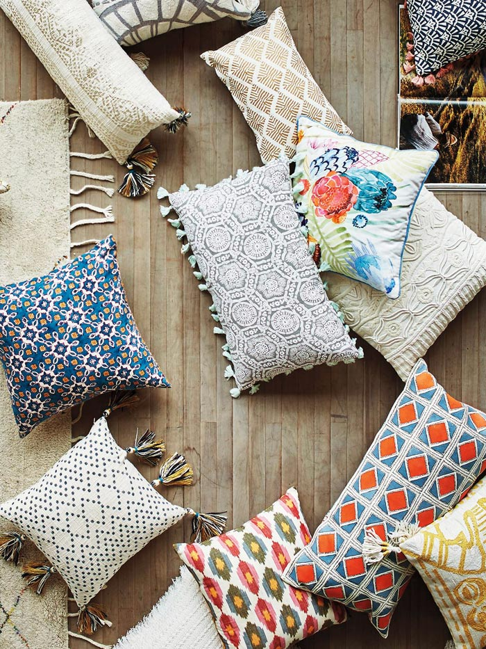 Tassel throw pillows from Anthropologie via @thouswellblog