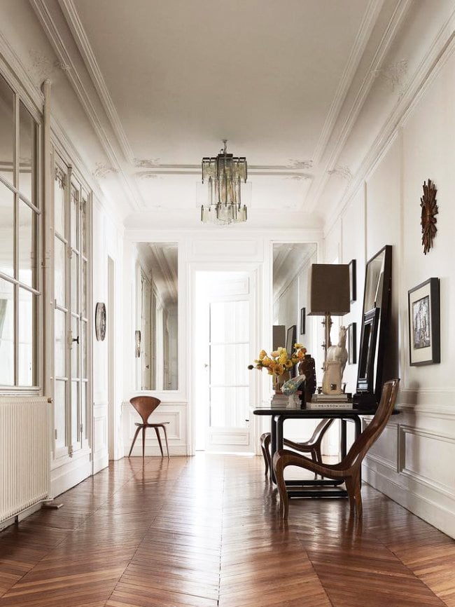 Entry hall in Parisian apartment via @thouswellblog