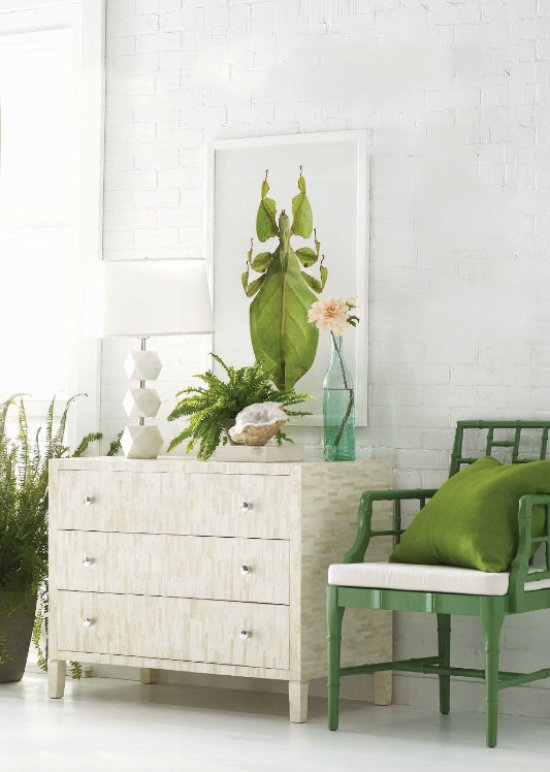 Dresser and side chair with green accents from Wisteria via @thouswellblog