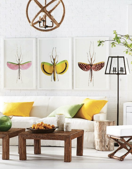 Bright summer living room with dragonfly prints via @thouswellblog
