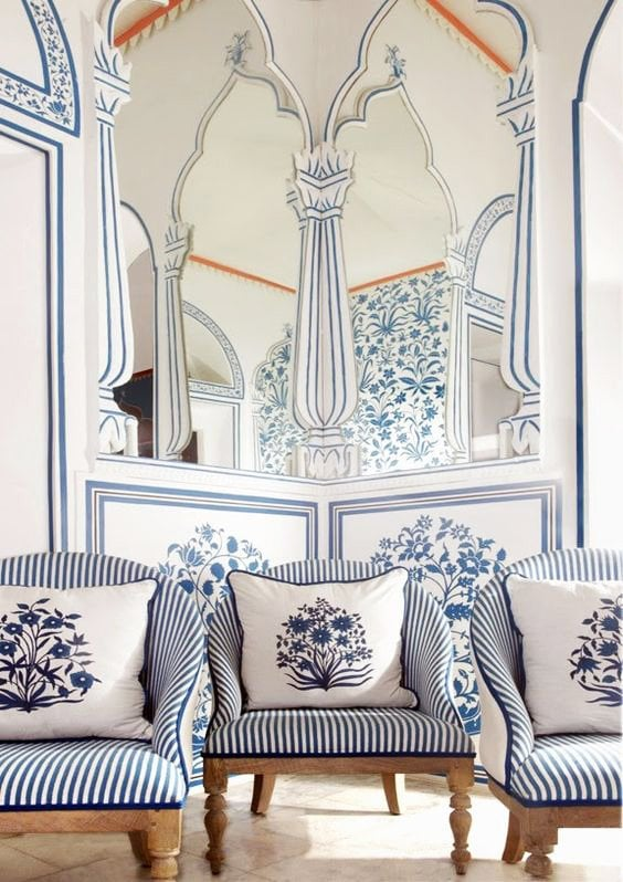 Blue and white striped chairs in a hotel in Jaipur via @thouswellblog