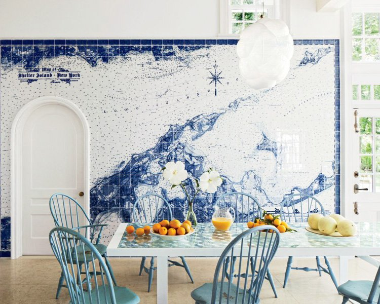 Blue and white room with tile map via @thouswellblog