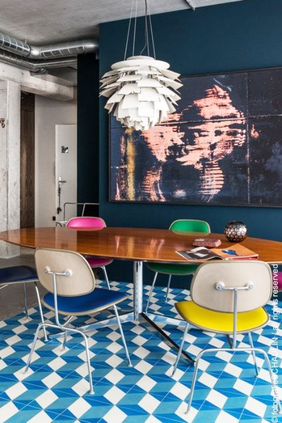 Blue and white floor tiles in a bold dining room via @thouswellblog